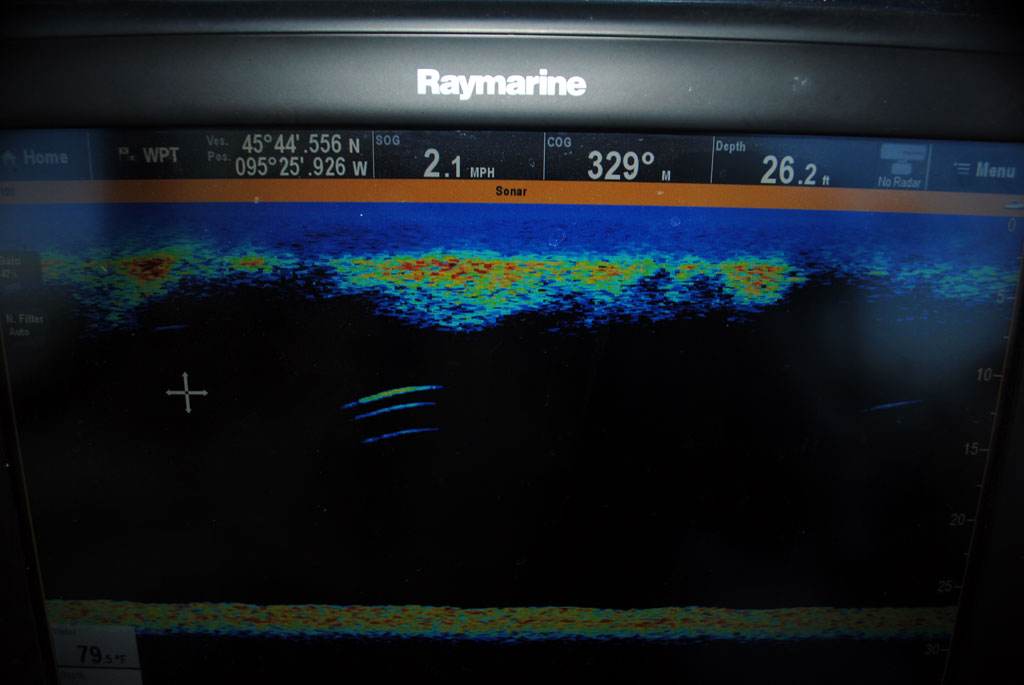 Look at the detail on this sonar unit. Those three marks in the middle of the screen are walleyes holding below a school of baitfish.