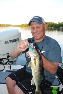 Mike Frisch trolled this crankbait summer walleye up on a Salmo Hornet.